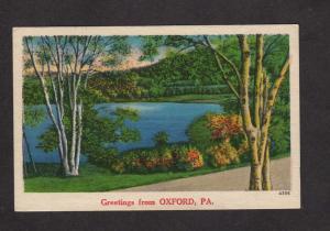 PA Greetings From Oxford Pa Lake Pennsylvania Penn Postcard Linen PC