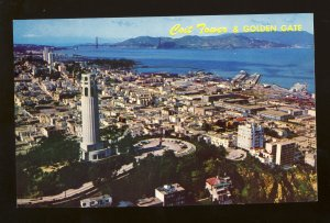 San Francisco, California/CA Postcard, View Of Coit Tower From Helicopter