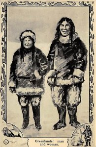 Exploration Post Card Greenlander man and woman Unused