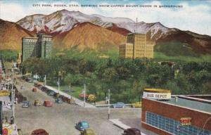 Utah Ogden City Park Showing Snow Capped Mount Ogden In Background 1944