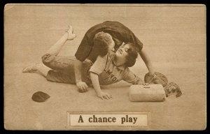 A Chance Play. Baseball theme romantic card. F.G. Henry & Co.