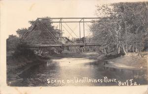Burt Iowa~Wagon Bridge Over Des Moines River~Lady in Horse Buggy~1909 RPPC