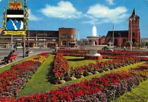 Belgium Blankenberge King Leopold III Square Fountain Church Postcard