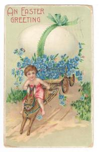 Child Riding Rabbit Pulling Cart With Large Egg Emb 1909