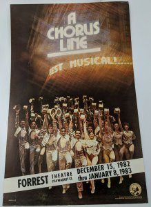 1982 A Chorus Line Original Musical Theater Poster Forest Theatre Philadelphia