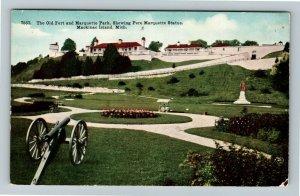 Mackinac Island MI-Michigan, Old Fort, Pere Marquette Statue, Vintage Postcard