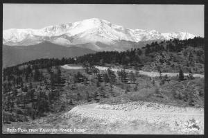 Pikes Peak From Rampart Range Road Colorado RPPC Unused c1940s