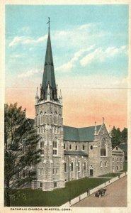 Vintage Postcard 1920's Catholic Church Winsted CT Connecticut Danziger & Berman