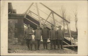 WWI Era - German Soldiers or Officers & Collapsed Bridge Real Photo Postcard