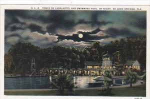 Florida Deland Ponce De Leon Hotel and Swimming Pool By Night Curteich