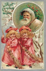 White Santa Claus With Two Girls Embossed Best Christmas Wishes - 1908 04.37