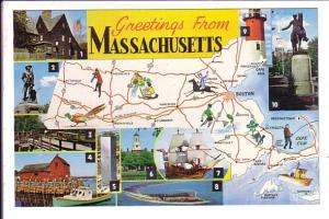 Pictorial Map, Greetings from  Massachusetts,