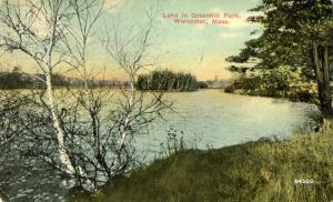 Lake in Greenhill Park - Worcester MA, Massachusetts - pm 1910 - DB