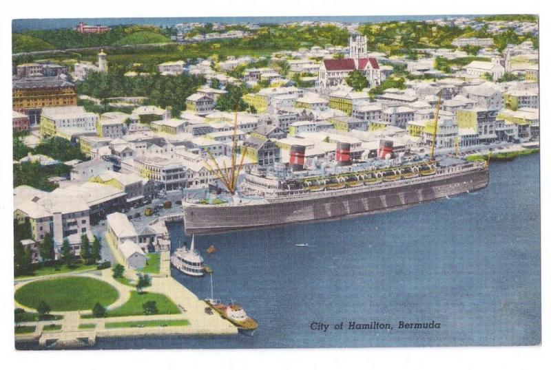 Hamilton Bermuda Aerial View Ship Port Harbor