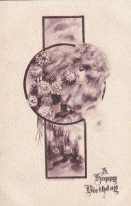 BIRTHDAY, 1900-10s; Woman's profile smelling the hydrangeas, Windmill