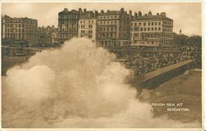 United Kingdom, Rough Sea at Brighton, early 1900s Postcard