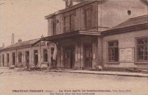 France Chateau Thierry La Gare apres les bombardes Train Station