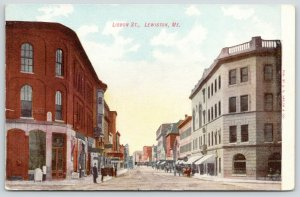 Lewiston Maine~Lisbon Street~Downtown Shopping~Man on Sidewalk~c1905 Postcard