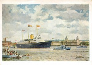Art Postcard The Royal Return 15 May 1954 HMY Britannia by Norman Wilkinson 20Z