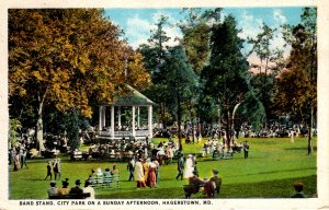 Hagerstown, Maryland - People around the Band Stand on a Sunday Afternoon - 1924