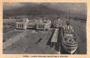 Naples Italy New Maritime Station Birdseye View Antique Postcard K78665
