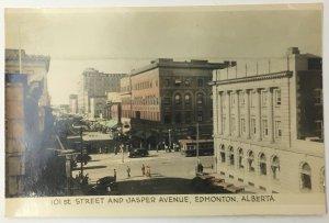 Old Real Photo Post Card 101st Street and Jasper Avenue Edmonton Alberta Canada