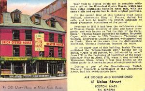 Boston Massachusetts~Oyster House~1960 Postcard