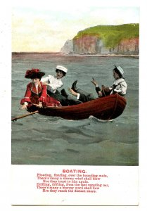 Boating - Vintage Card with a Story in Verse