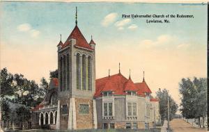 Lewistown Maine~First Universalist Church of the Redeemer~Beautiful Windows~1910