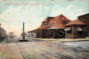 D64/ Washington Pennsylvania Pa Postcard Railroad Depot Station B&O 2