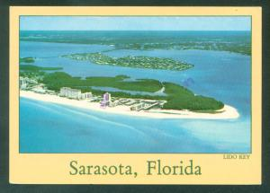 LIDO and BIRD KEY SARASOTA FLORIDA Beach Aerial View Continental Postcard