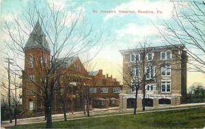 Reading Pennsylvania~St Josephs Hospital~Older & Newer~1910 Postcard