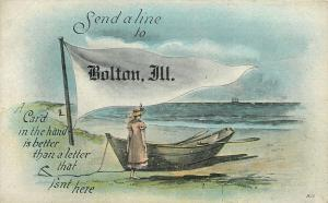 Send a Line to Bolton Illinois~Card in Hand Better than Letter That Isn't~1930