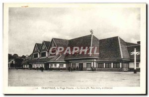 Old Postcard Deauville flowered beach station