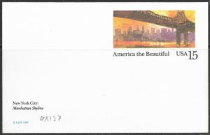 US Unused. America the Beautiful. UX137. NYC - Manhattan Skyline. Nice.