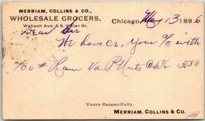 1886 Chicago, Ill. Business Postcard MERRIAM, COLLINS & CO WHOLESALE GROCERS
