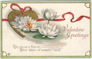 White Water Lilies in Pond with Gold Heart and Red Ribbon Valentine Greetings