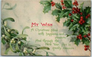 Vintage Gibson CHRISTMAS Postcard MY WISH Poem / Holly Leaves 1916 Cancel