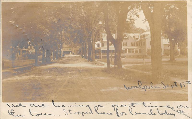 Walpole New Hampshire~Street Scene~Horse & Buggy in Distance~1906 RPPC