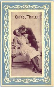 Vintage Romance Postcard Couple Kissing on Bench OH! YOU TRIFLER c1910s UNUSED