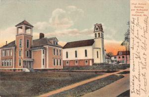 Oakland Maine High School and Methodist Church Vintage Postcard JA454839