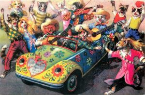 Mainzer Cat Cowboy Band in Psychedelic Hippie Convertible Repro Postcard