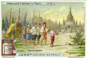 siam thailand, Funeral Procession (1899) Liebig Trade Card