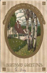 Cottage Scene Puffy Clouds Stone Bridge White Birch Vintage Postcard Country