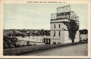 Watertown Wisconsin~Power House & Dam~Close Up~1940 Blue Sky Linen Postcard