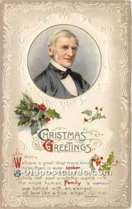 Christmas Holiday Postcard Ralph Waldo Emerson, American essayist, lecturer 1913