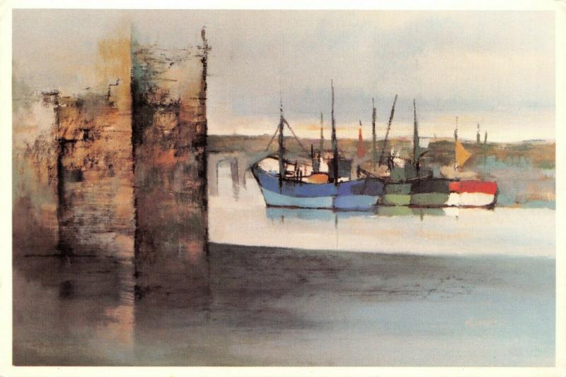 Art Postcard Fishing Craft by Michael Praed Cornwall Boats Harbour 25R