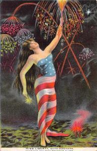 Patriotic Greetings Miss Liberty Fireworks Vintage Postcard JD933303