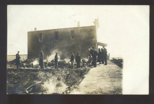 RPPC MCINTIRE IOWA DOWNTOWN FIRE DISASTER VINTAGE REAL PHOTO POSTCARD