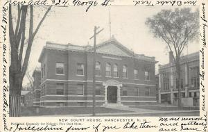 Manchester New Hampshire~New Court House~1905 B&W Postcard